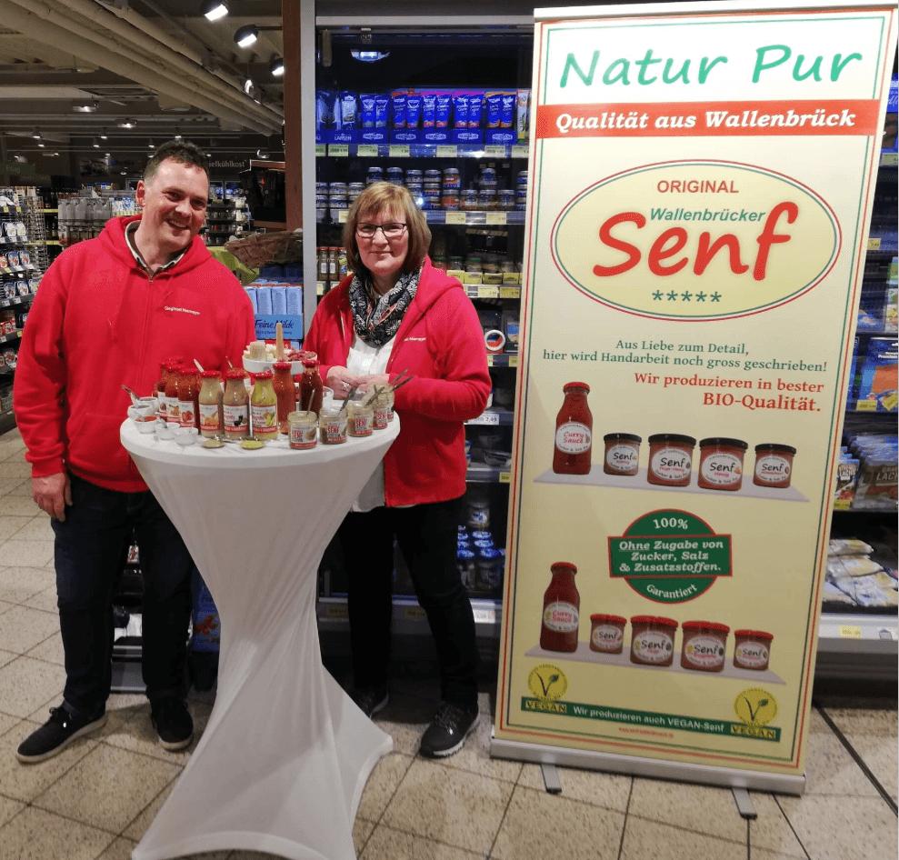 Wallenbrücker Senf Stand im Supermarkt - Senf kaufen