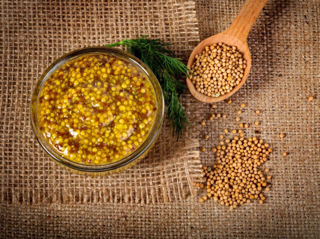 Senfkörner und Senf in einer GLasschale - Senf kaufen